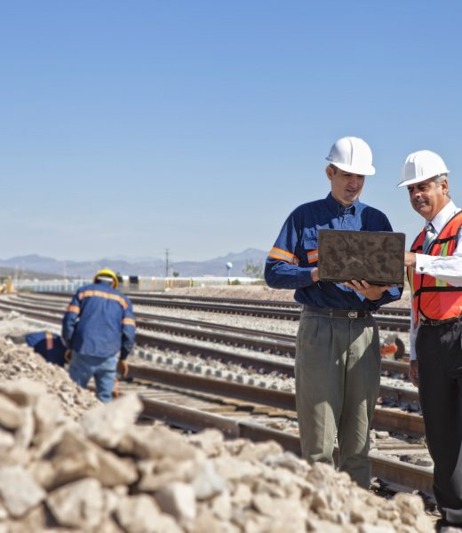 Engineer and Businessman at Railroad, Construction,Manual Workers,Strategy